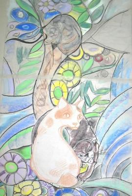 Gatti e fiori,porta