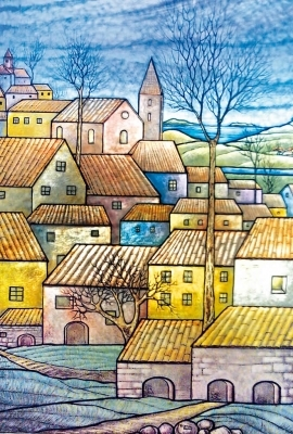 Village by the sea, painted on the plate