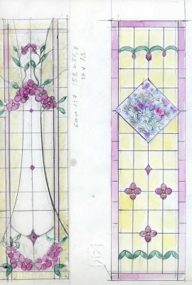 Sketches, window with flower
