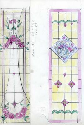 Bozzetto, finestra con fiori
